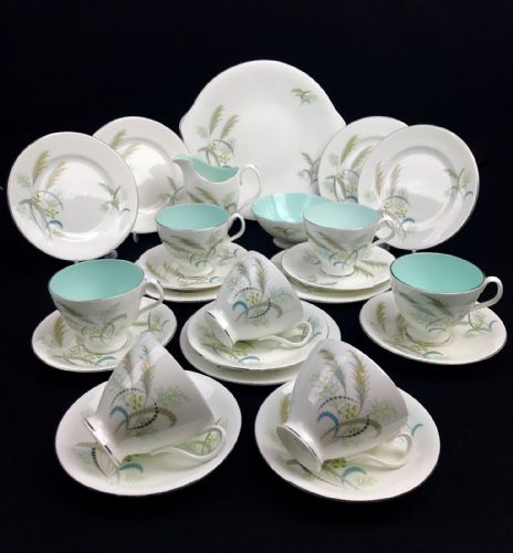 Royal Albert Festival Tea Set For 6 / 21 Piece / Vintage / White And Blue